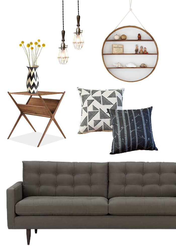 aged pendant light/ circle shelf / blockprint cushion/ birch cushion / petrie sofa / fitz end table/ vase