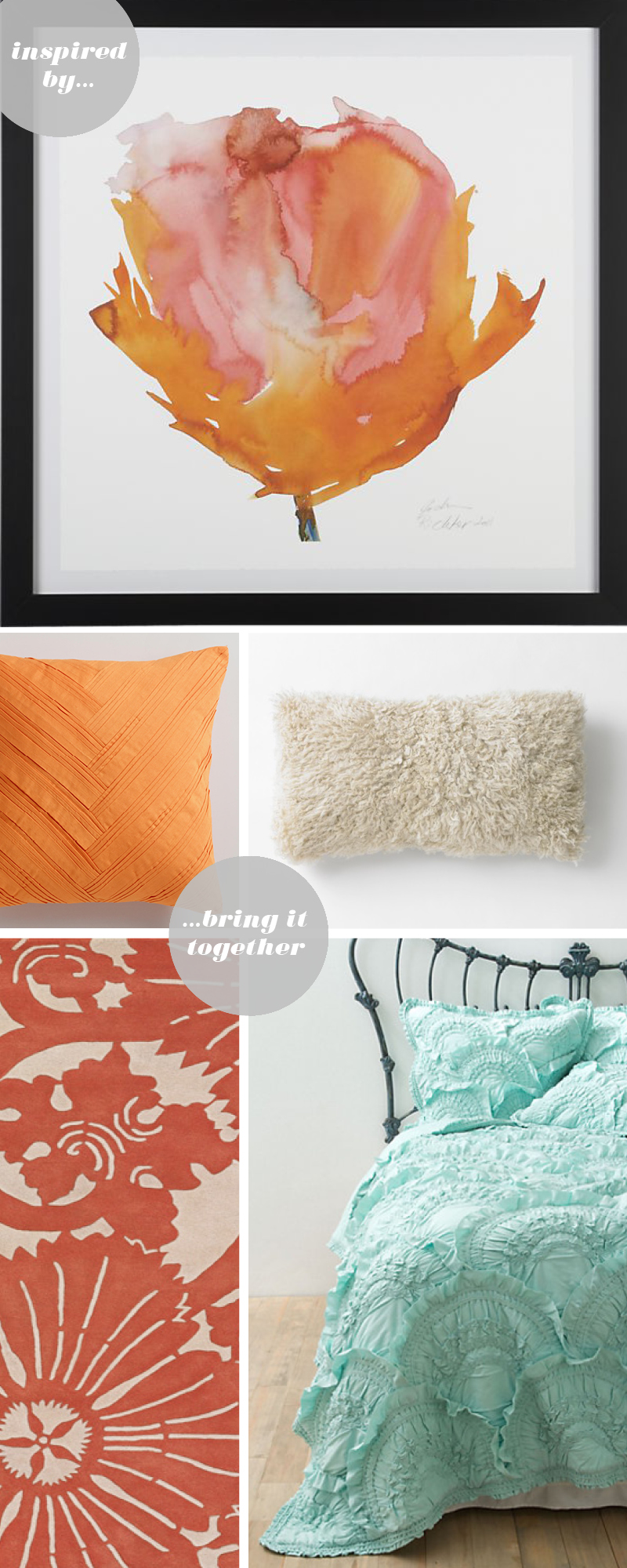 orange poppy print / sheepskin pillow / orange origami throw pillow / rivulets bedding / floral rug