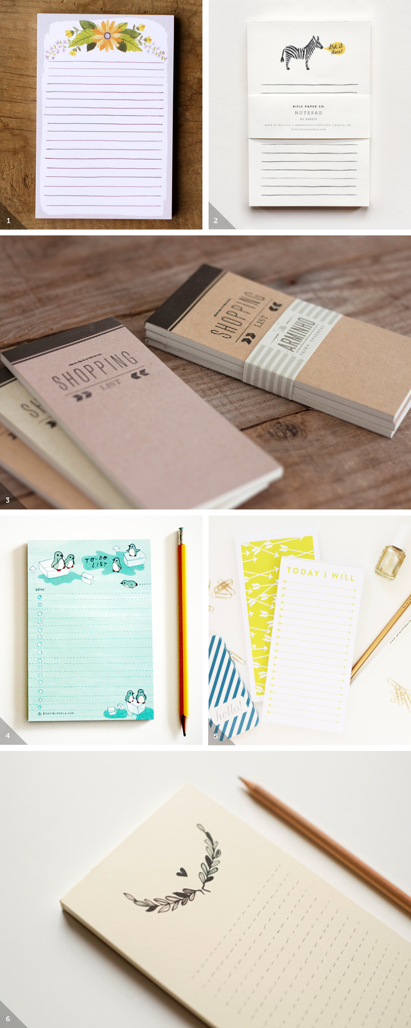 """1. Floral Watercolor Notepad2. """"Get It Done"""" Notepad3. Letterpress Shopping List Notepad4. Penguin To Do List5. Arrow To Do List6. Black Wreath Notepad"""