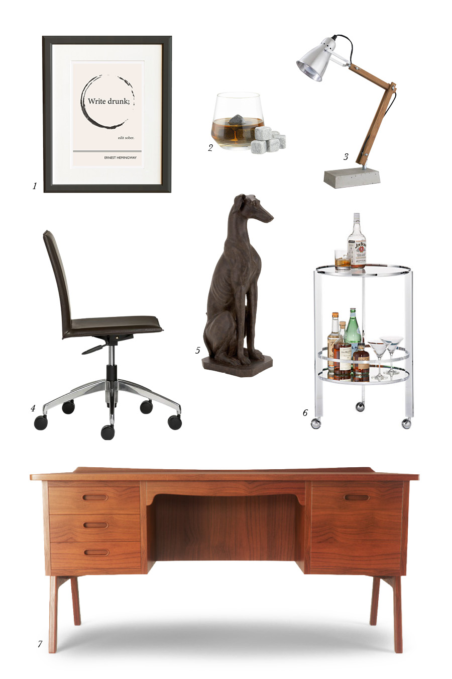 1. Ernest Hemingway Print from Obvious State from  2. Whiskey Stones from Crate & Barrel 3. DIY Desk Lamp from Nimi Design 4. Desk Chair from Crate & Barrel 5. Greyhound Statue from Wayfair 6. Bar Cart from CB2 7. Desk from Thrive