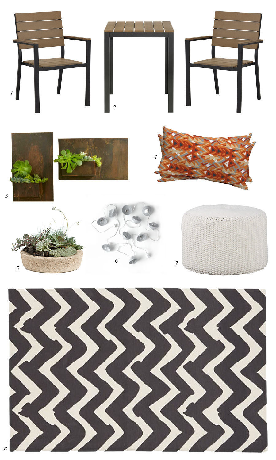 1. FALSTER Armchair from IKEA; 2. FALSTER Bistro Table from IKEA; 3. Metal Planter Wall Art from Vivaterra; 4. Tribal Triangle Orange Pillow Set from Target; 5. Low Profile Hypertufa Planter, No. 3 from Terrain; 6. Industrial String Lights from West Elm; 7. Criss Knit Indoor-Outdoor Pouf from CB2; 8. Chevron Outdoor Rug from Crate & Barrel