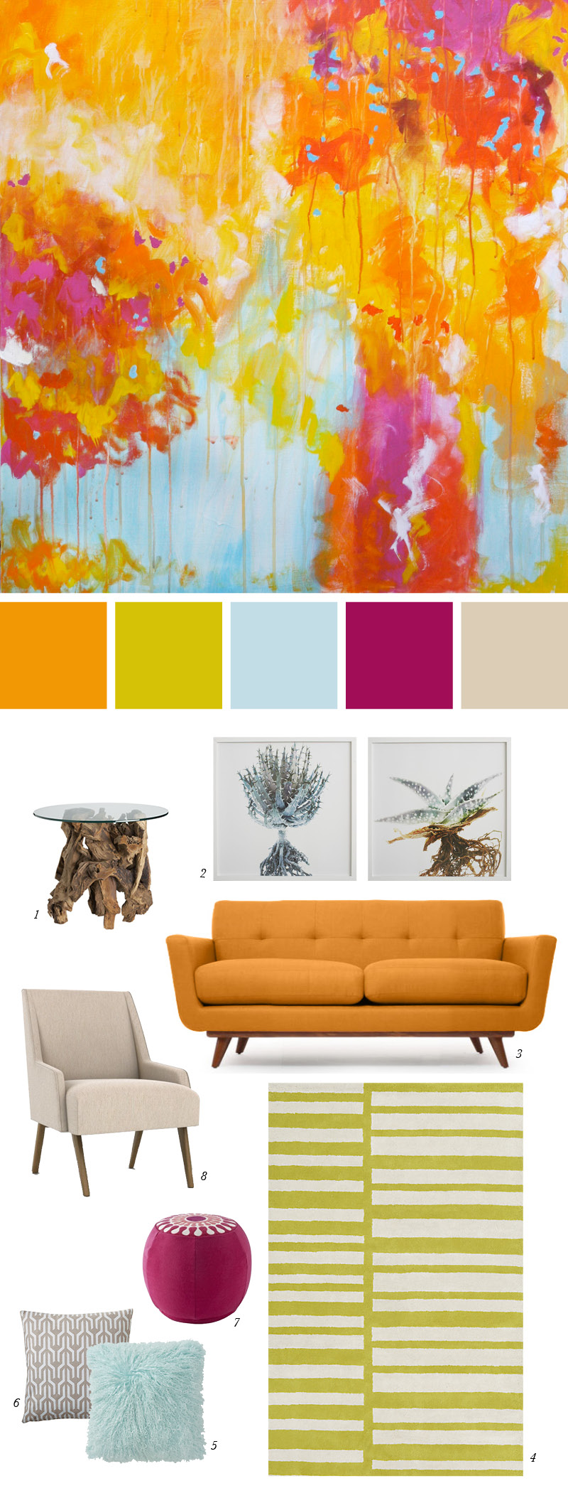 Inspiration Image: Confetti by Christine Soccio 1. Driftwood Side Table from Crate & Barrel 2. Clinton Fredman Wall Art from West Elm 3. Nixon Loveseat from Thrive Home Furnishings 4. Keys Rug from CB2 5. Luxe Fur Pillow from Anthropologie 6. Bark Kuba Pillow Cover from Serena & Lily 7. Katie Round Pouf from Happy Chic by Jonathan Adler at JC Penny's 8. Pollino Chair from Dwell Studio