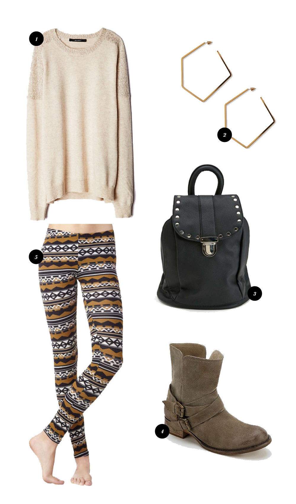 1. Sequin Dusted Sweater from Anthropologie // 2. Pentagon Hoops from Forever 21 // 3. Mini Backpack from Nasty Gal // 4. Biker Boot from Urban Outfitters // 5. Alpine Leggings from Mod Cloth