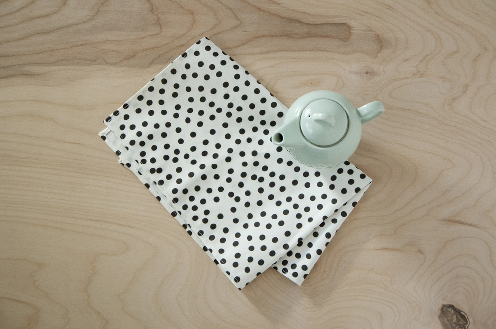 Modern Polka Dot Linen Tea Towel