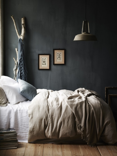 Charcoal Bedroom Accent Wall. Click for more dark wall inspiration.