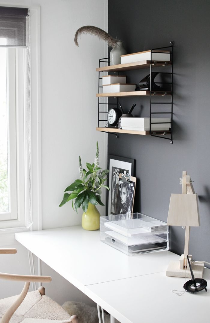 Workspace Charcoal Accent Wall. Click for more dark wall inspiration.