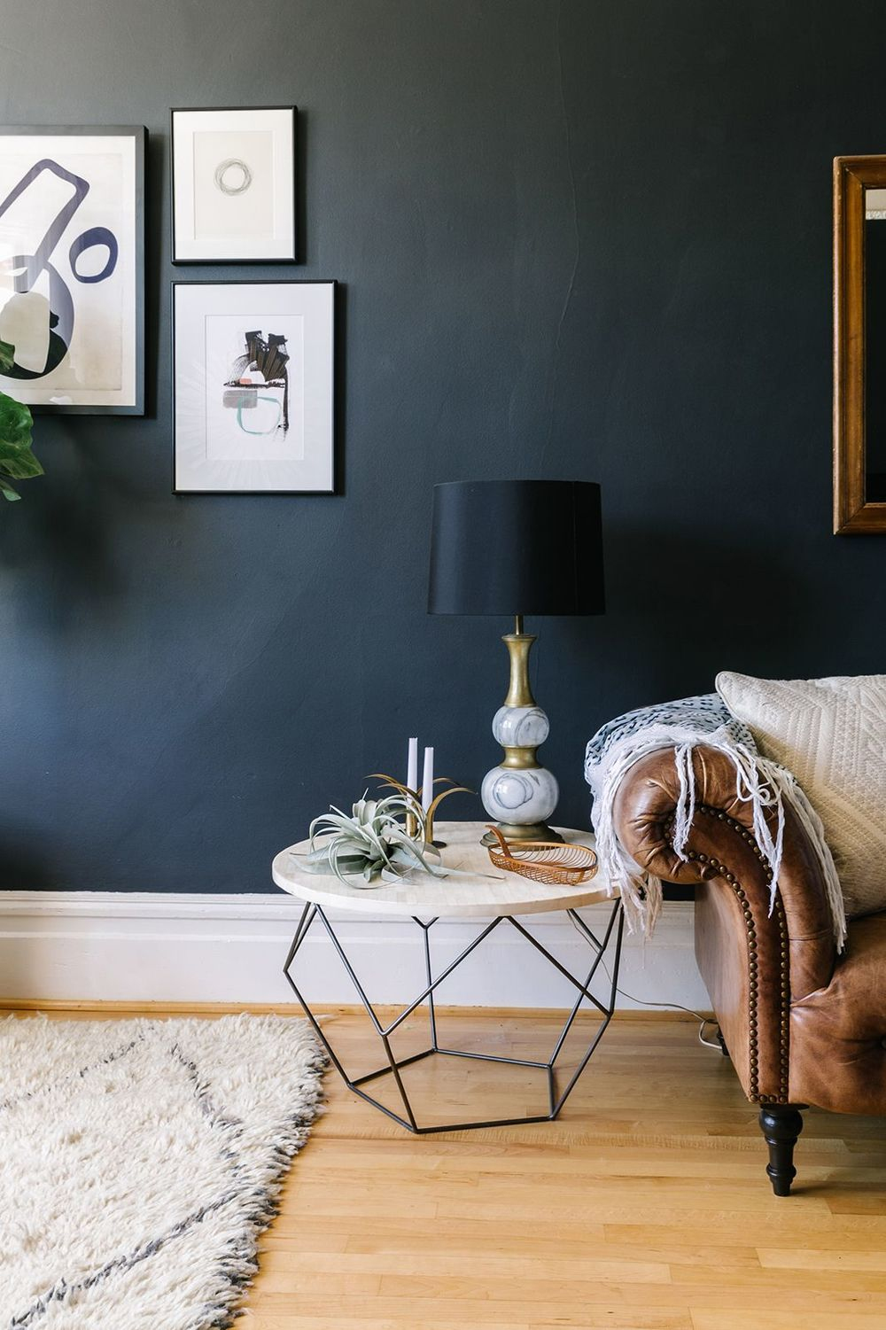 Charcoal Living Room Walls.  Click for more dark wall inspiration. | www.jaymeesrp.com