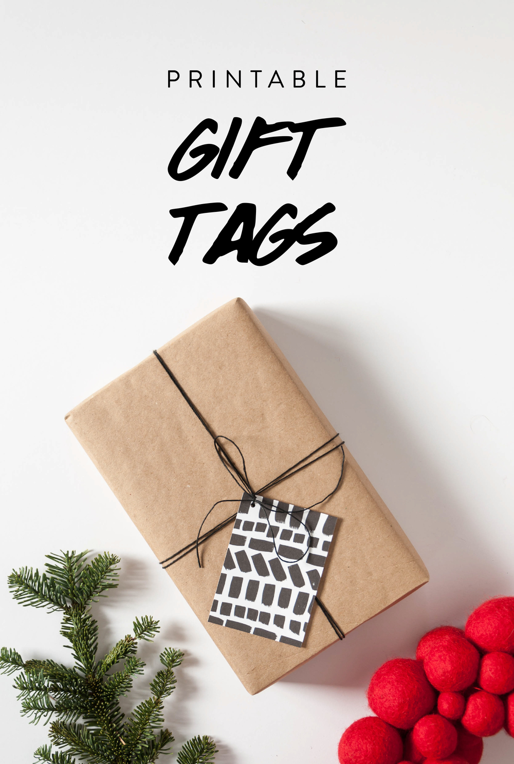 Free printable gift tags with modern brush stroke pattern.  Click to download.