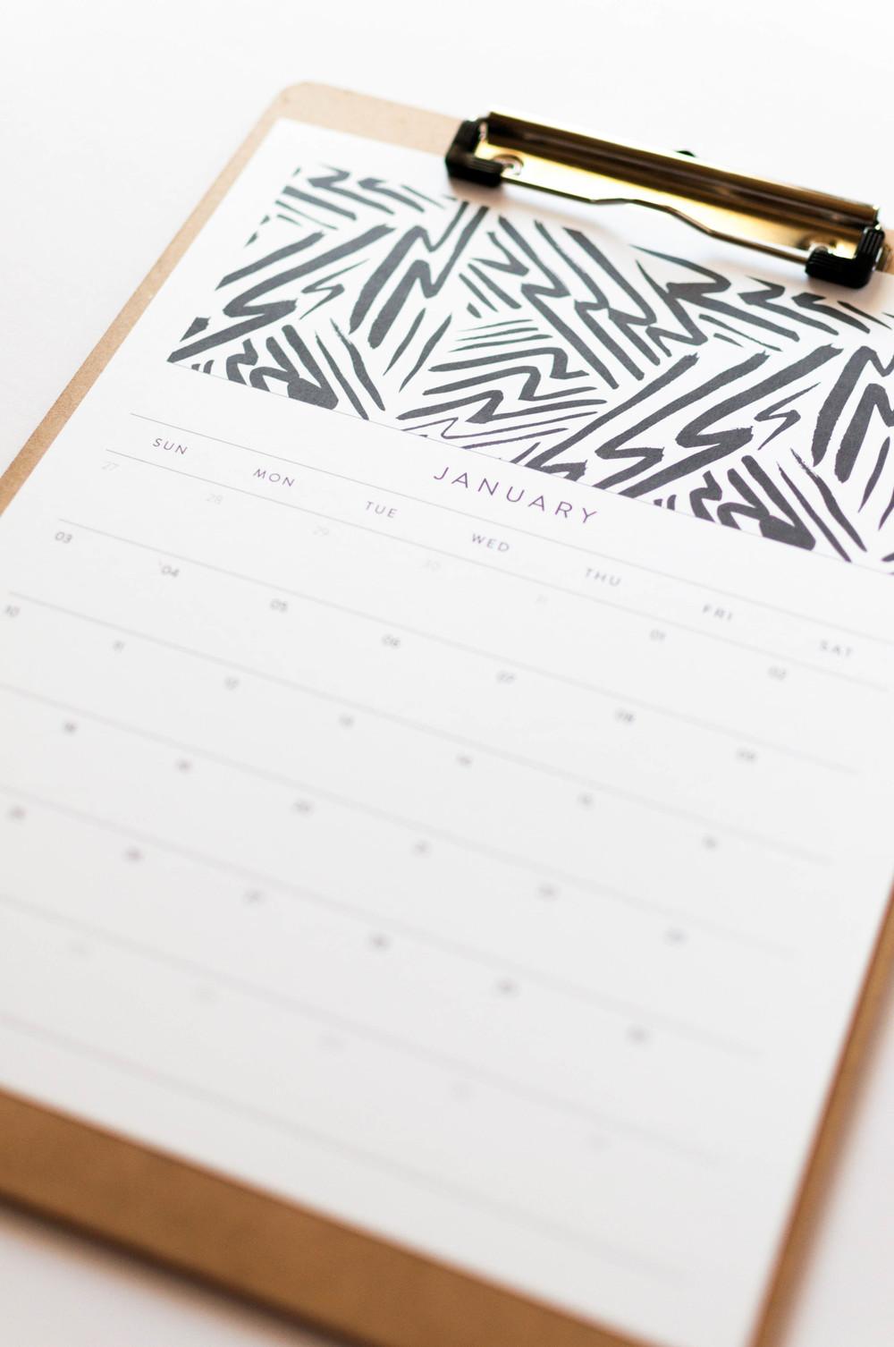 Free January 2016 Calendar Download