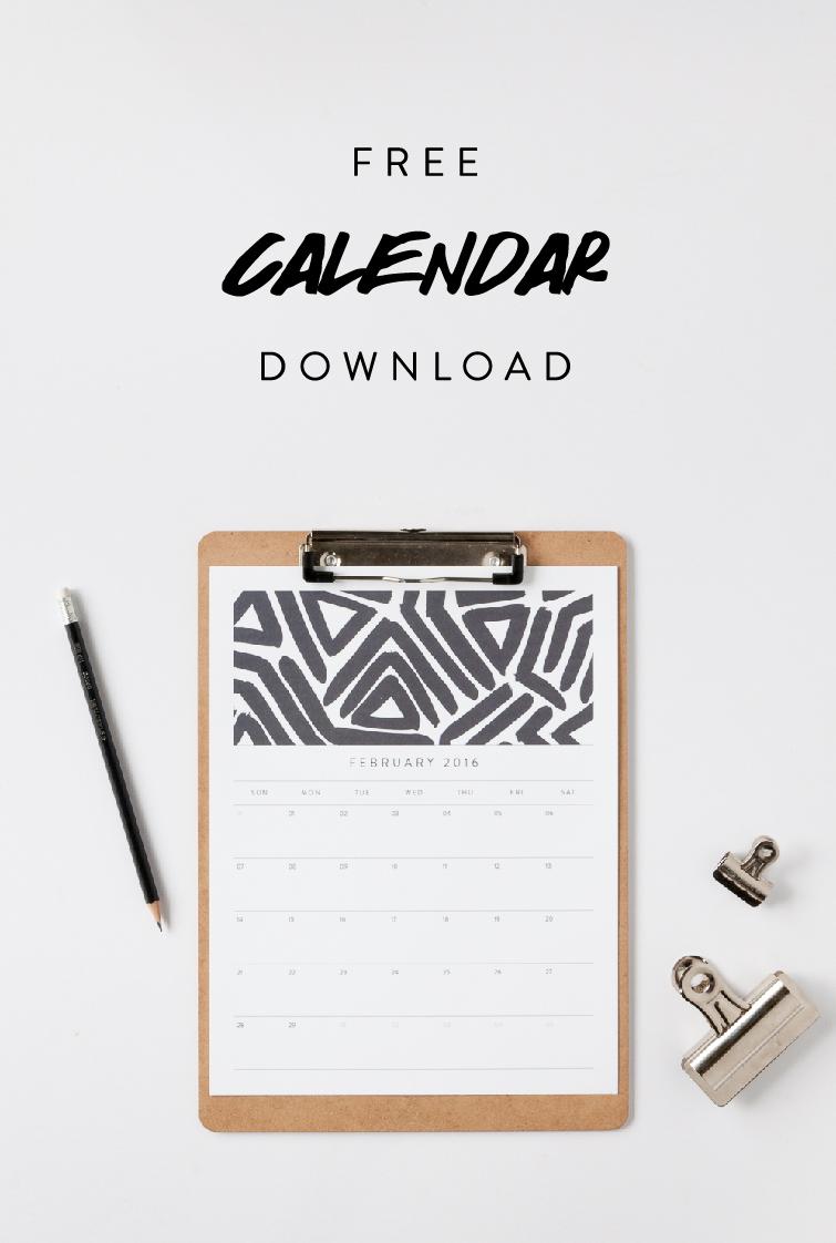 February 2016 Free Calendar Download