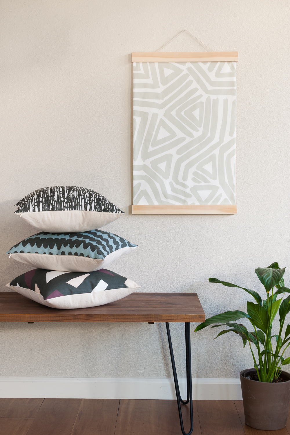 Modern Geometric Fabric Wall Hanging