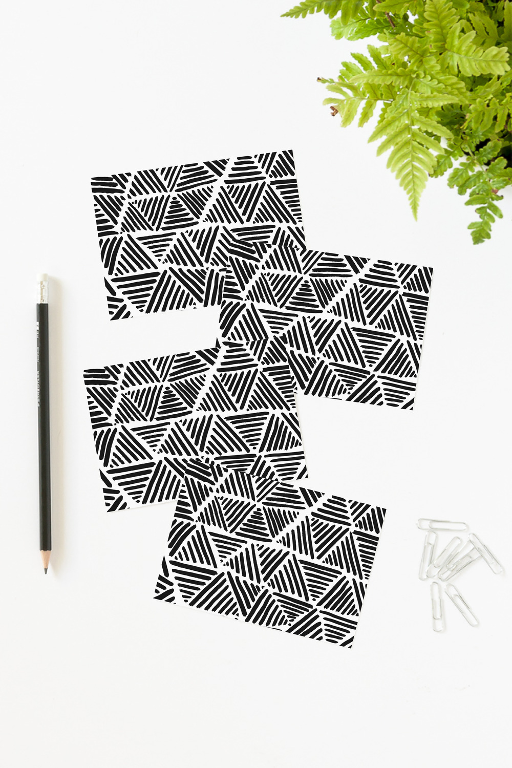 Striped Triangle Note Cards