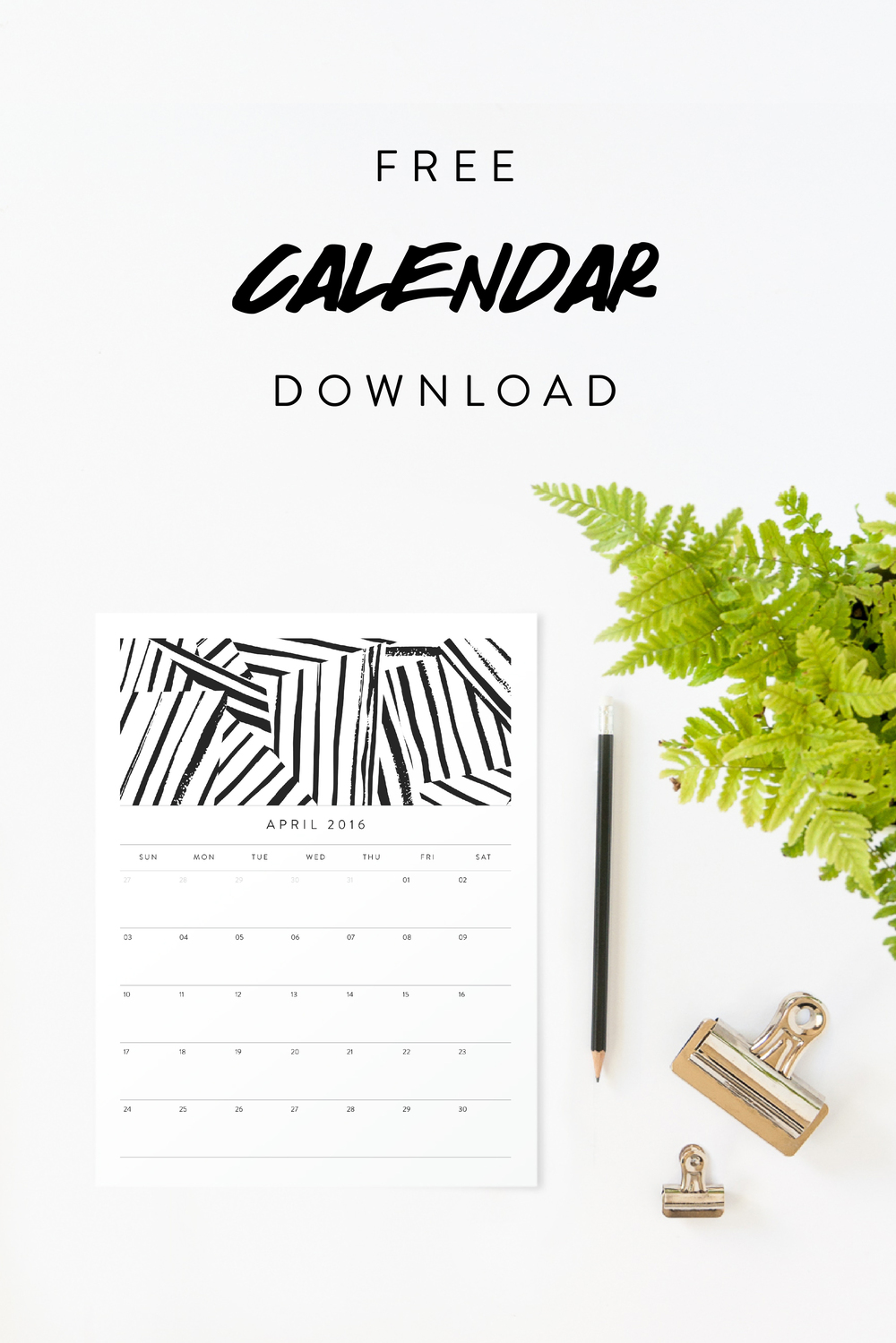April 2016 Free Calendar Download