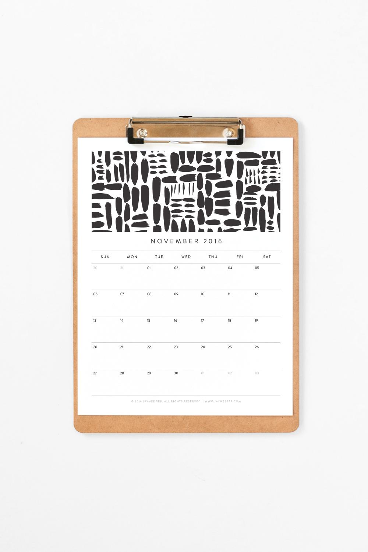 Free November 2016 Calendar Download