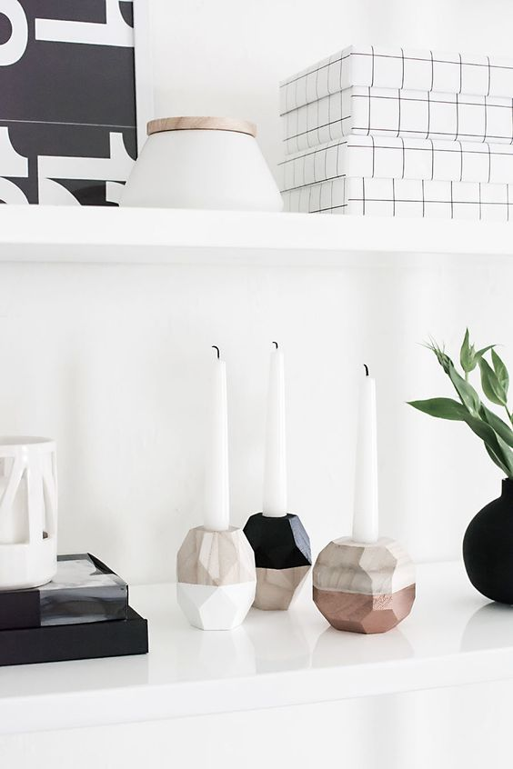 DIY Geometric Candle Holders