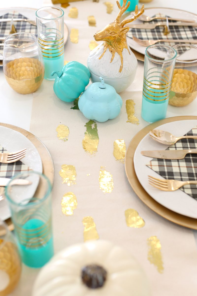 DIY Gold Foil Brush Stroke Table Runner