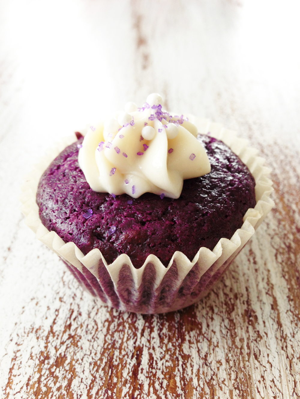 Skinny Purple Velvet Cupcakes & Cream Cheese Frosting ...