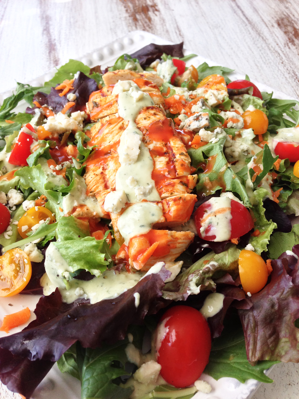 Skinny Grilled Buffalo Chicken Salad & Avocado Ranch — The Skinny ...