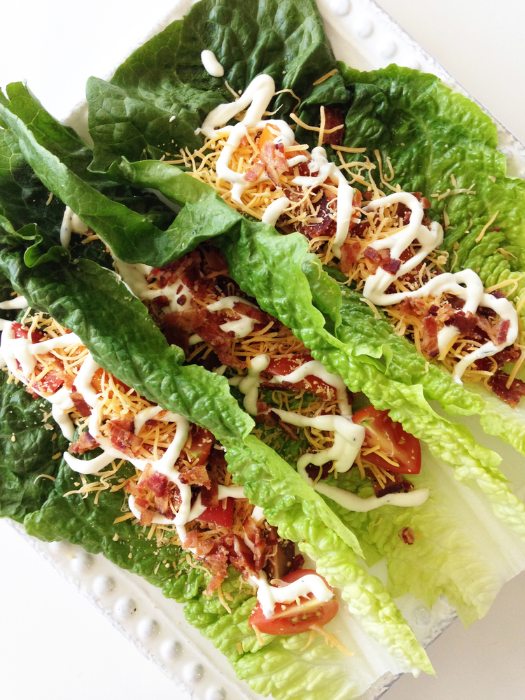 Close up of a lettuce wrap