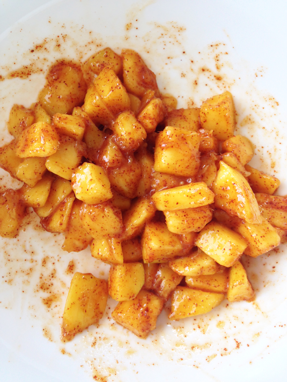 Combine 1/3 of the cubed mango in a small bowl with 1/2 tsp. of the ...