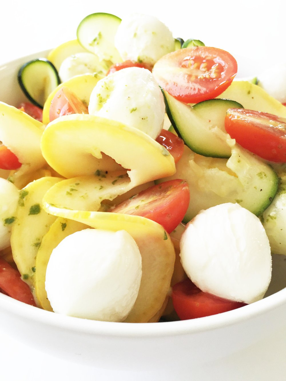 Zucchini Noodle & Mozzarella Salad with Lemon Basil ...