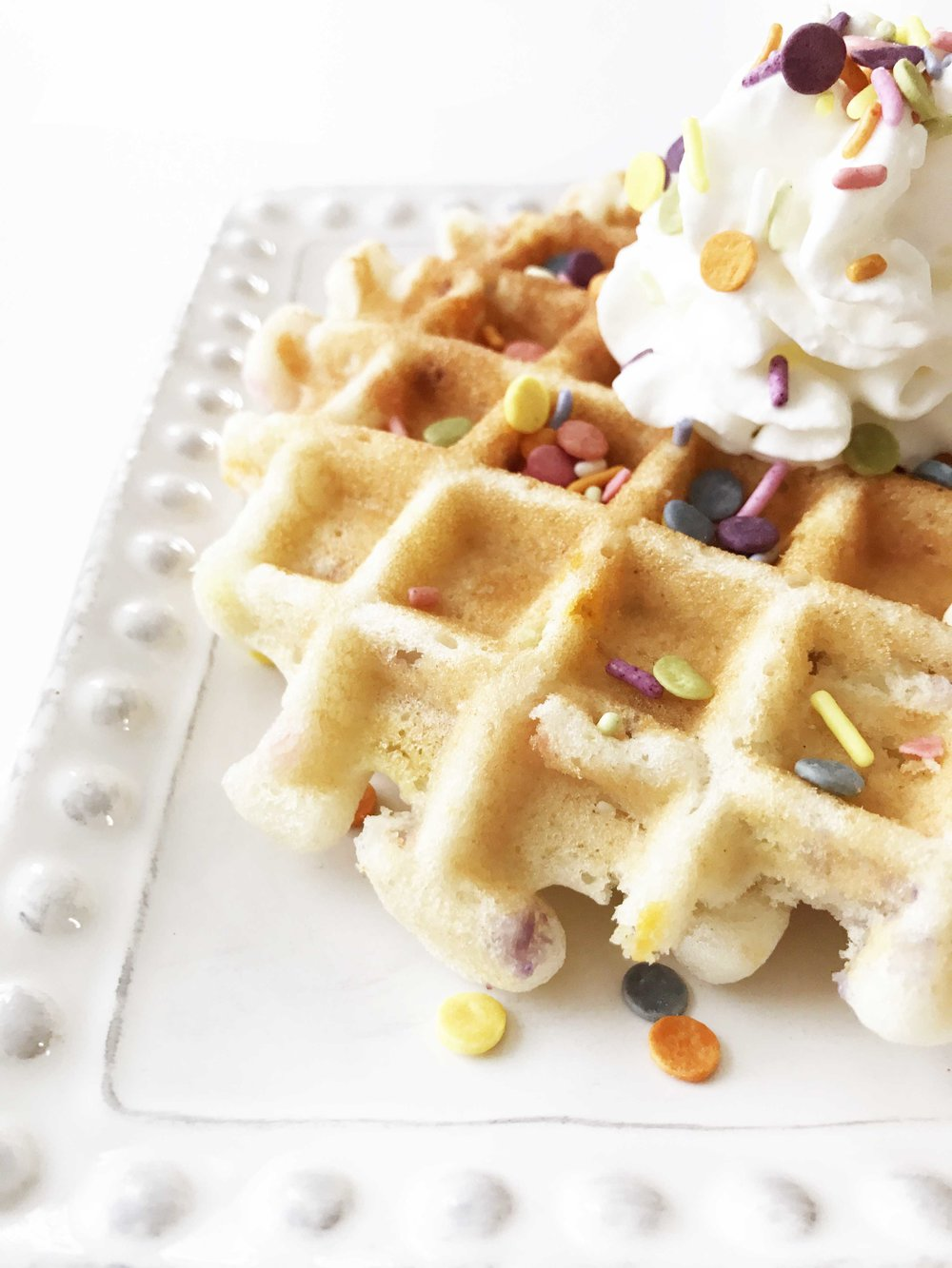 Clean Birthday Cake Batter Waffles Sponsored The Skinny Fork