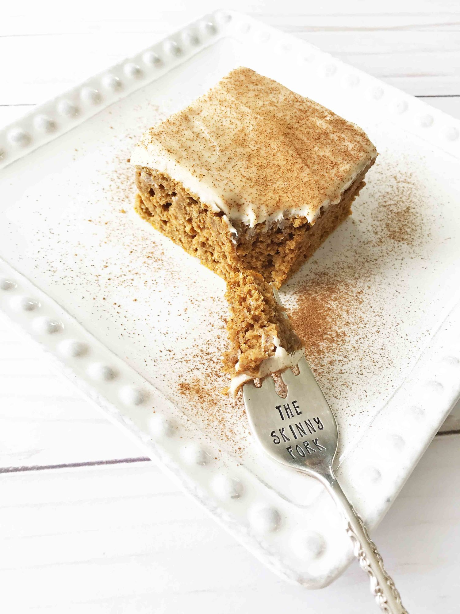 Skinny Pumpkin Spice Bars + Maple Cream Cheese Frosting