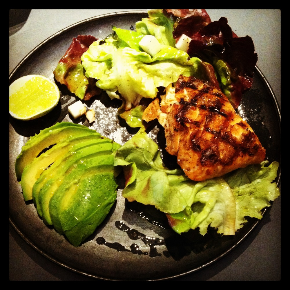 Grilled Skuna Bay salmon salad