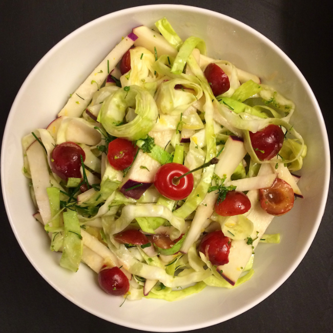 Ottolenghi's kohlrabi and cabbage salad with sour cherries and dill