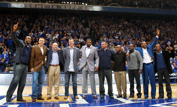 kentuckybasketball :     Last night the University of Kentucky honored the 1996 National Championship Team at halftime. Each player was given a ring which the team never received after the 1996 tournament.