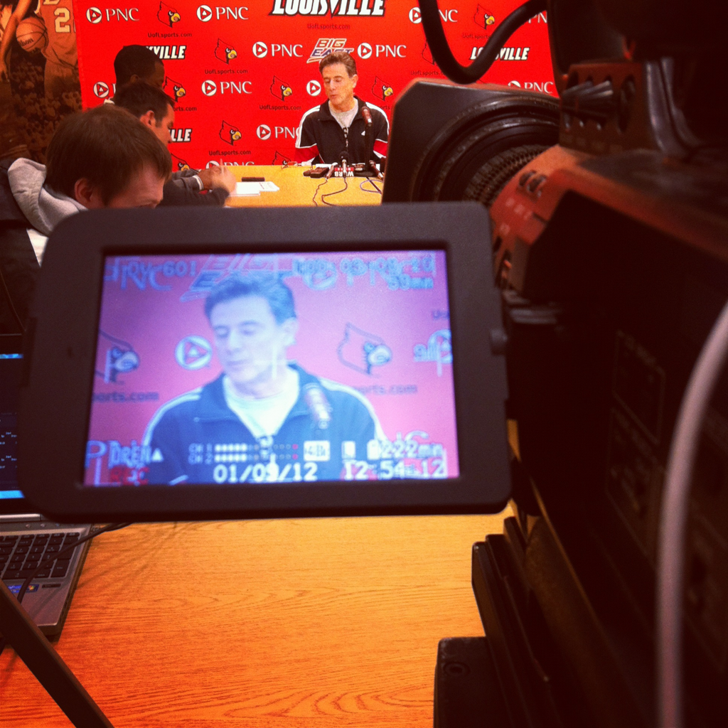 I almost wore a Kentucky shirt to work today. When I got there I found out that I was shooting the Pitino presser today…that would have been awkward.