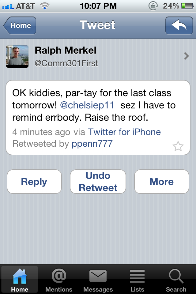 This is a tweet from my professor…in college.