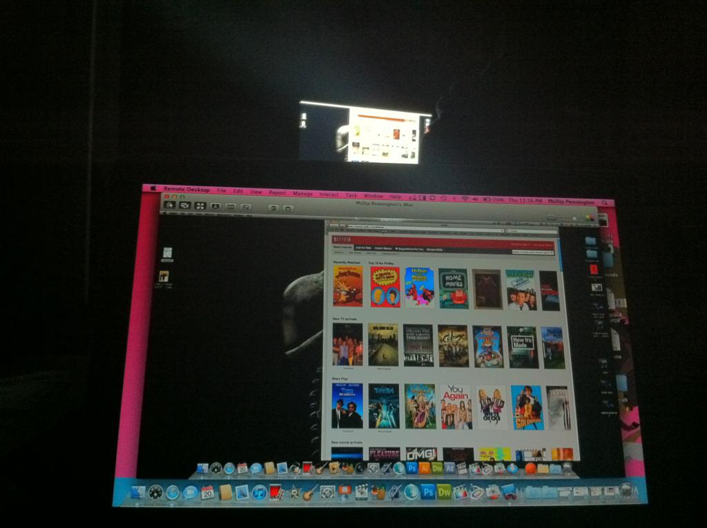Using remote desktop on my laptop to control Netflix on my iMac. I may be lazy…