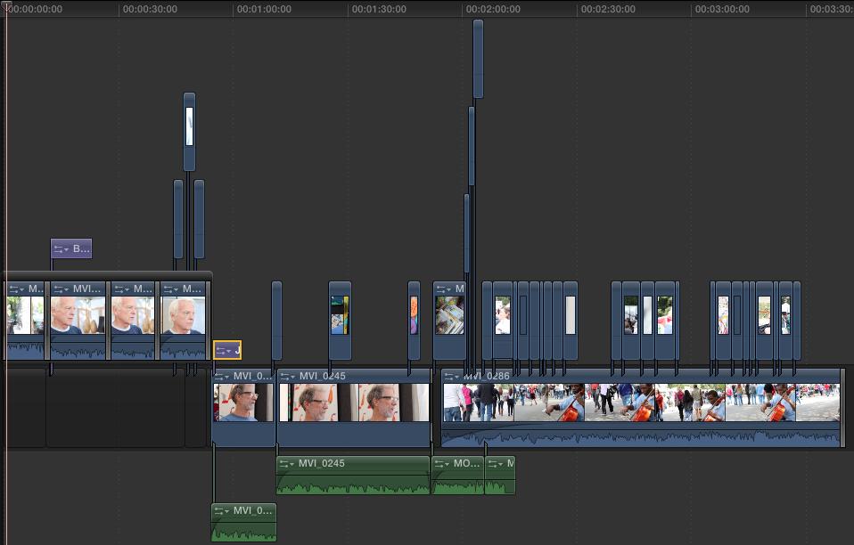 Final Cut X timeline.