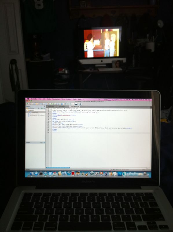 Watching King of The Hill on one computer. Coding on the other.