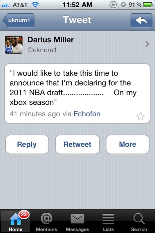 DANG IT! Miller is going to the draft too…oh wait…