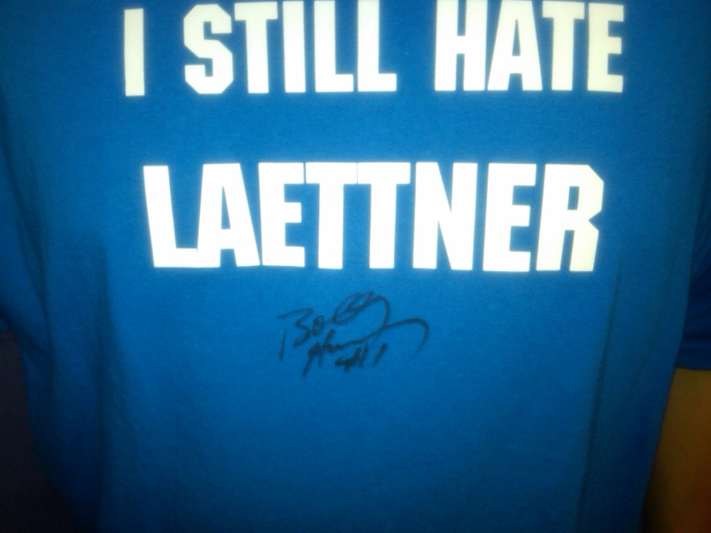 How you get former Duke guard Bobby Hurley to autograph a shirt like this baffles me. But I love it.