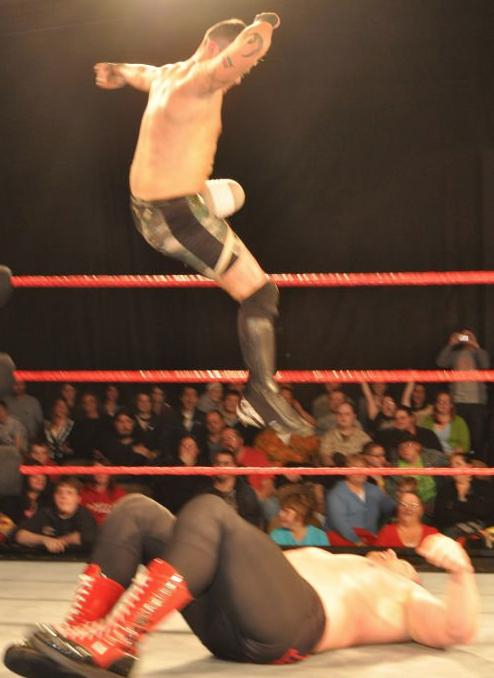 Ever seen a one legged wrestler jump off a turnbuckle?