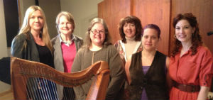 Performers & the creative team from Brigid's Place's performance of Easter in Memory of Her. (L-R) Sonja Bruzauskas, composer & singer; Betty Adam, scriptwriter; Becky Baxter, composer & harpist; April DeConick, scriptwriter; Ryan Stickney, singer; & Stacey Weber, singer