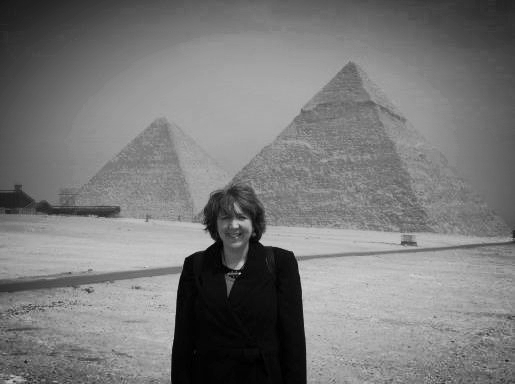 April DeConick visiting the Giza Pyramids, Cairo, 2005