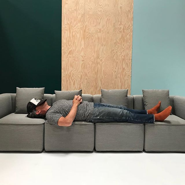 Another exhausting but great day shooting with @pfeifferfoto.  Turns out the Maude Sofa designed for @corral_usa by @grahamdesignsf is a perfect post shoot resting spot.  Nice work Brian!😉 #orangesockday #photoshoot  #newproduct #newamericandesign #furnituredesign #furnituremover