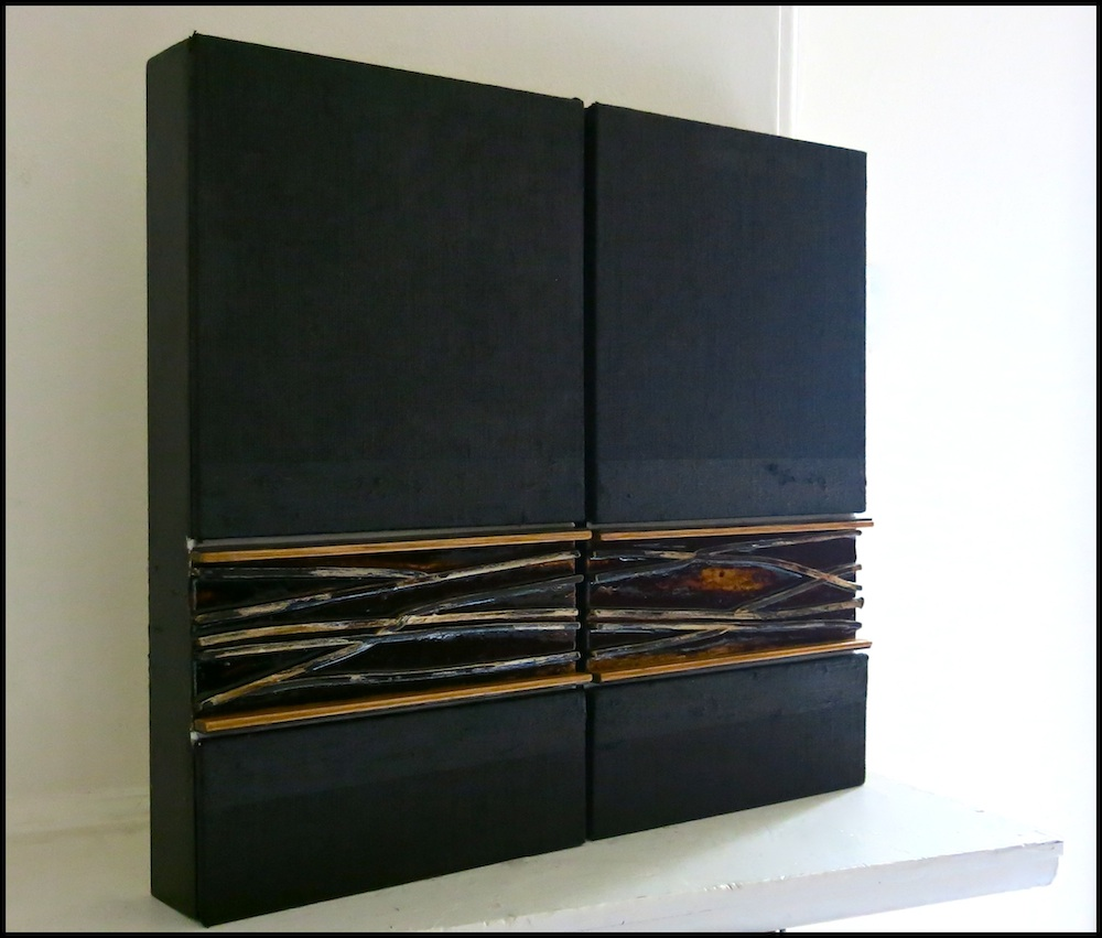 Untitled EP #10, 2013 40CM x 45CM (2 panels) Acrylic, Oil stick, Tar, Rubber, Oak, Chalk and Varnish on linen cover panel