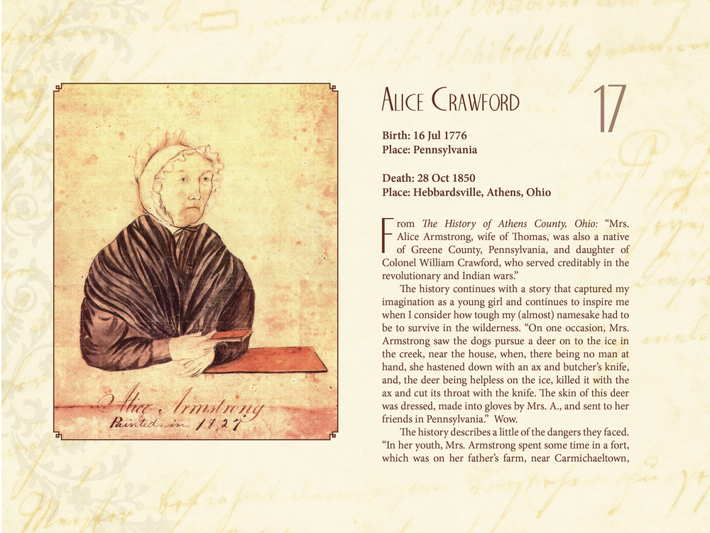 I found an intriguing survival tale about my fifth great-grandmother Alice Crawford's life just at a time in my own life when I needed inspiration. In this biographical sketch of her, I added my own feelings about the discovery.