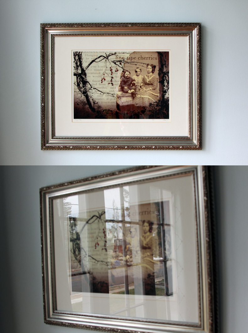 The painting on the top is shot head-on, lens parallel to the wall, with the window on the right. Shooting from the side causes distortion and sometimes unwanted reflections. Stand back and use a telephoto to get the least distortion.