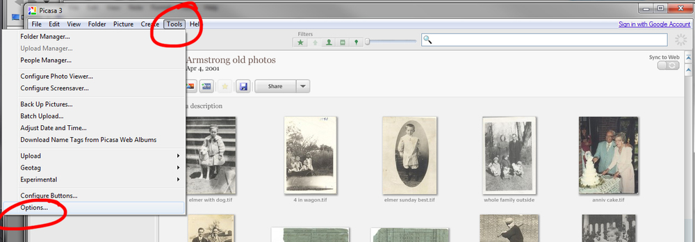 Emailing a photo from Picasa is easy, but make sure you set the default file size.