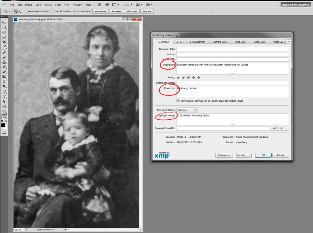 Putting in descriptions, keywords and caption information is easy in Photoshop/Photoshop Elements.