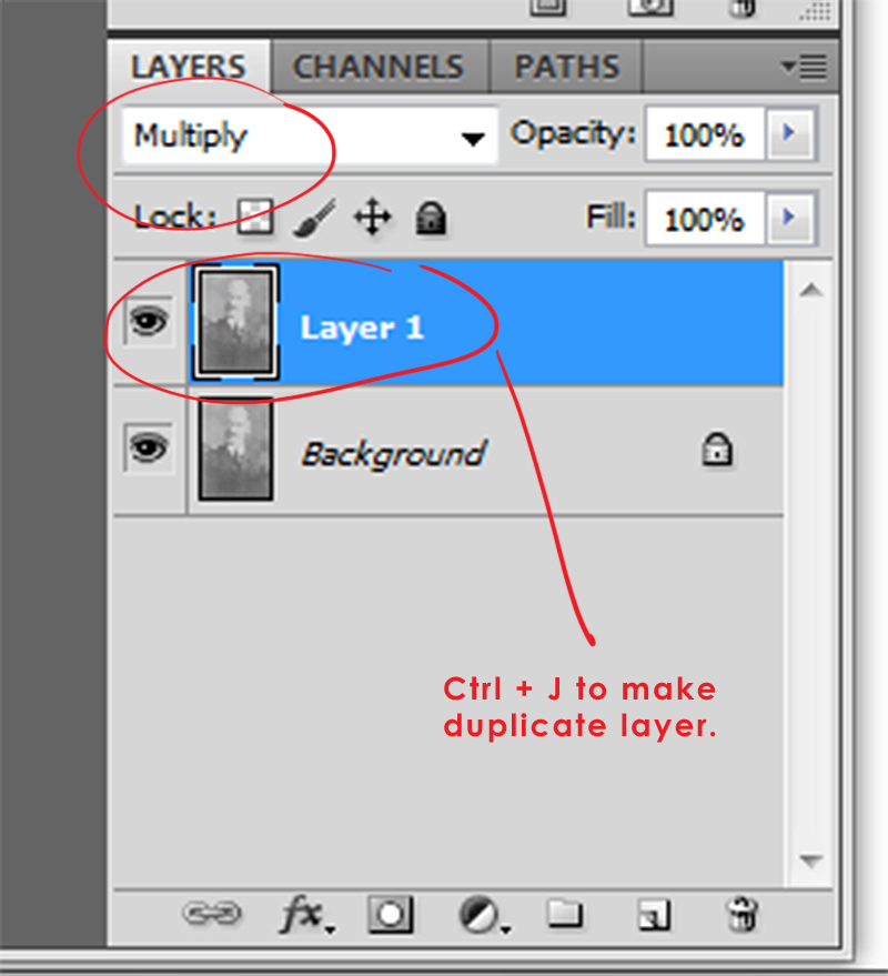 In your Layers palette, add a duplicate layer and change the blend mode to Multiply.