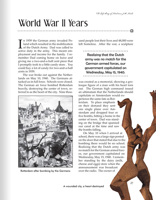 This page includes a World War II-era photo of the bombing of Rotterdam, as well as a photo of a memorial sculpture.