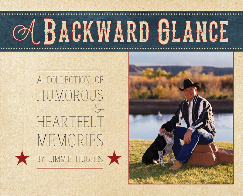 One of our latest covers, for client Jimmie Hughes. It incorporates a title and subtitle, three different fonts, a photo, and decorative elements. It manages to convey a lighthearted, western mood without being too busy.
