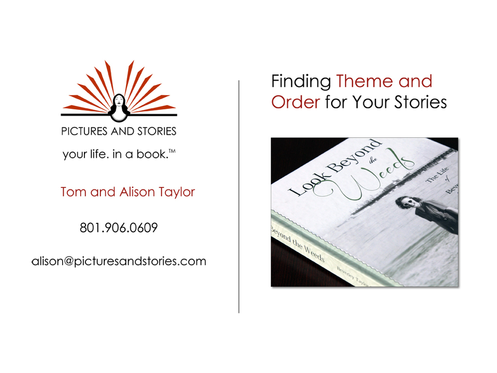 "This week's webinar is ""Finding Theme and Order for Your Stories"""